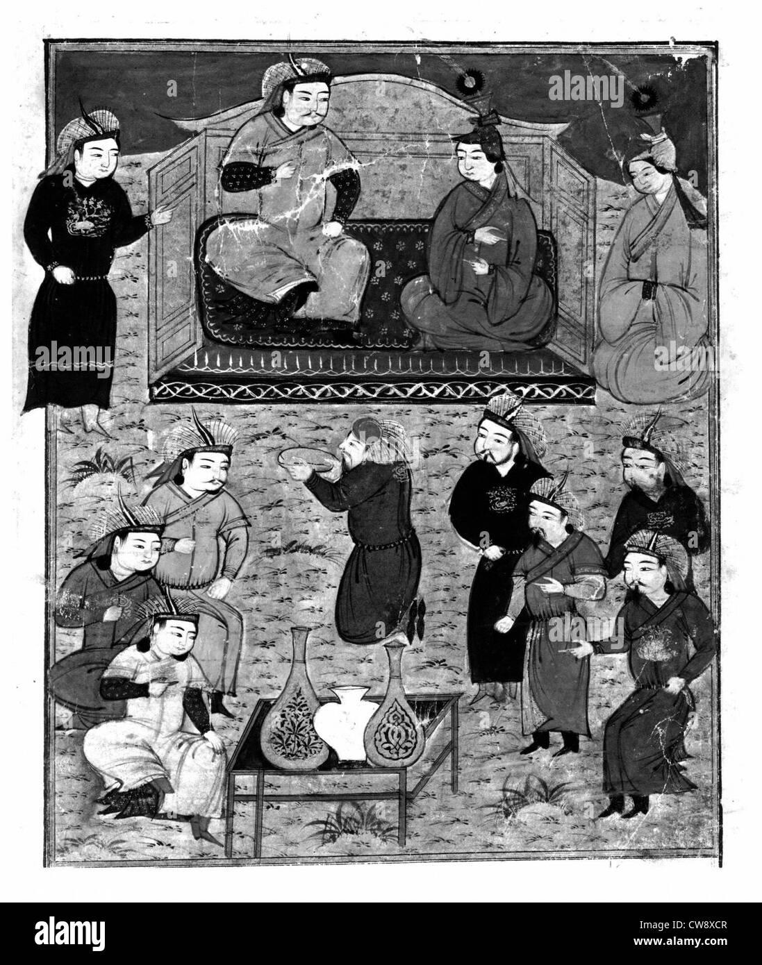 Manoscritto persiano adornata con 106 dipinti Immagini Stock