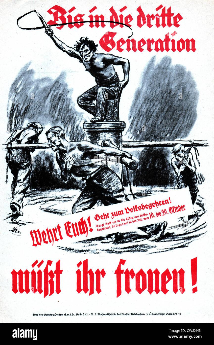 Poster di propaganda contro il Trattato di Versailles relative riparazioni Immagini Stock