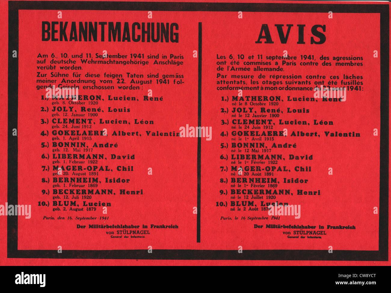 Poster annunciando la esecuzione di 10 ostaggi Immagini Stock