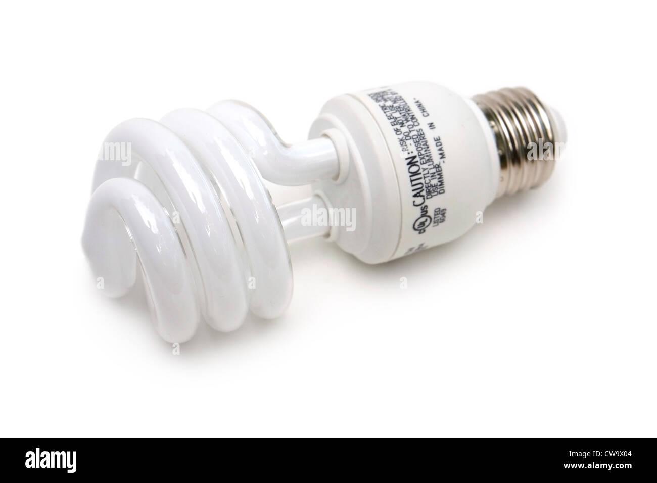 Lampadina della luce, efficiente nel consumo energetico, verde Immagini Stock