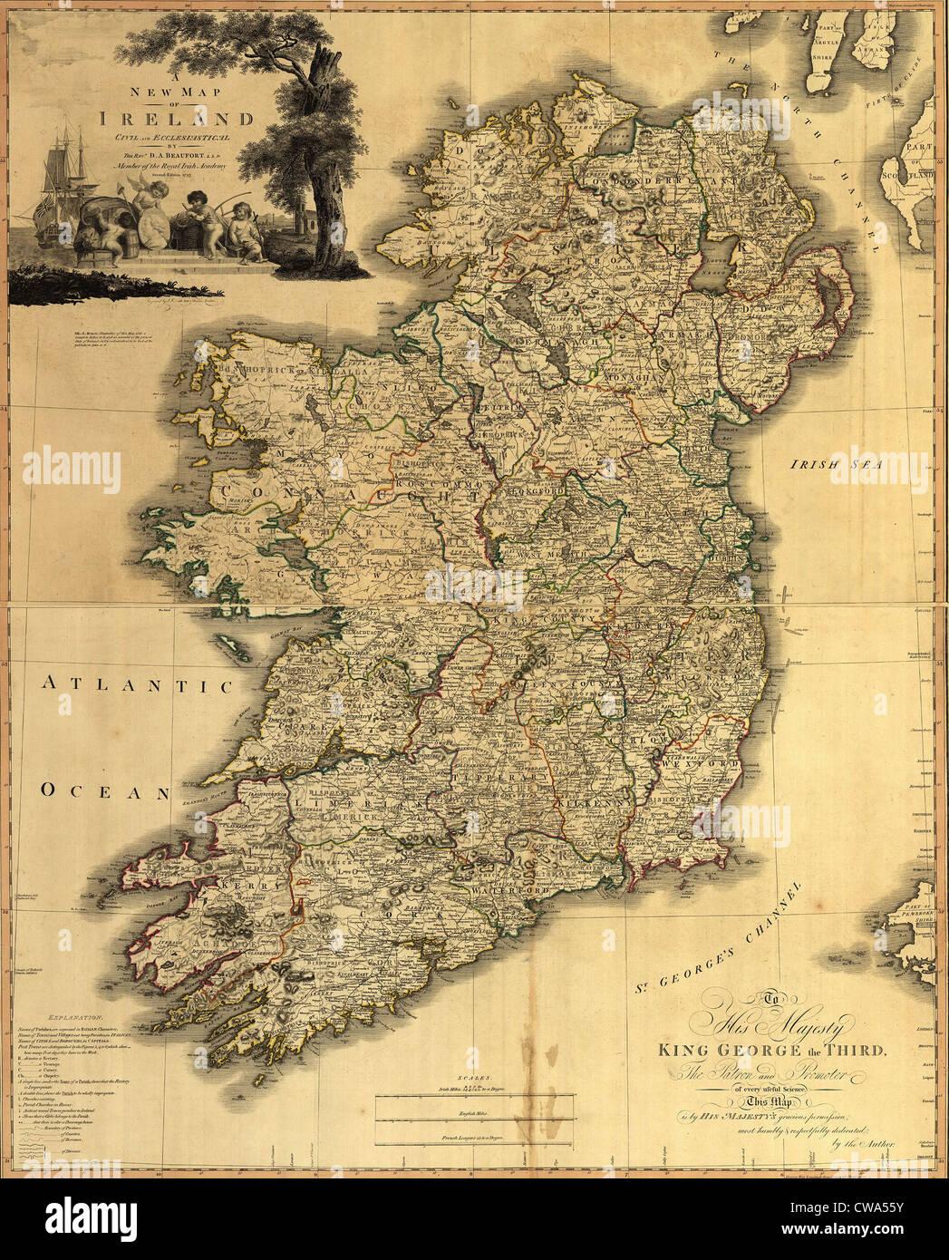 Mappa di Irlanda dal XVIII secolo, che mostra le contee, quando tutti Irlanda era sotto la dominazione britannica. Immagini Stock