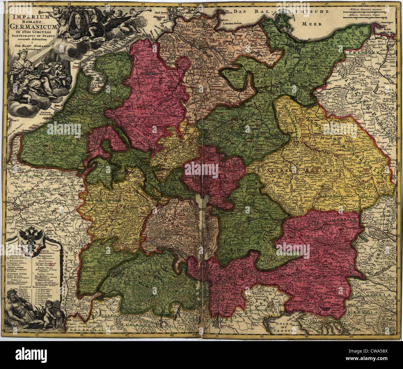 Mappa di Stati tedeschi, poi il Sacro Romano Impero, dall'inizio del XVIII secolo. Immagini Stock