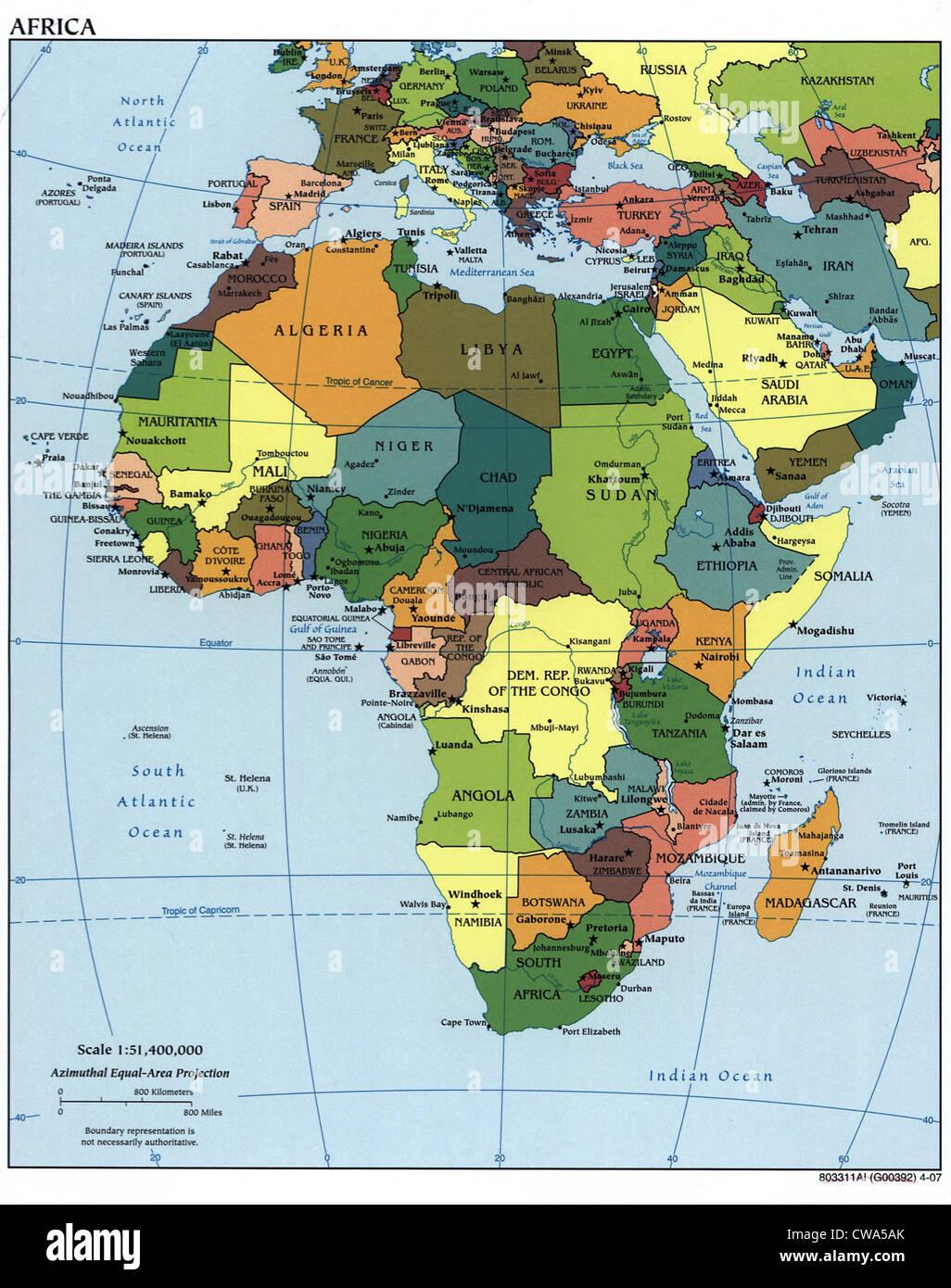 Mappa di Africa che mostra i confini nazionali, che riecheggiano nei primi anni del XX secolo frontiere coloniali. Foto Stock