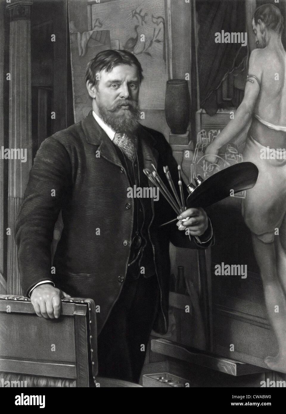 Sir Lawrence Alma-Tadema (1836-1912), nel suo studio. Dipinge scene realistiche di storia antica, con un dettaglio Immagini Stock