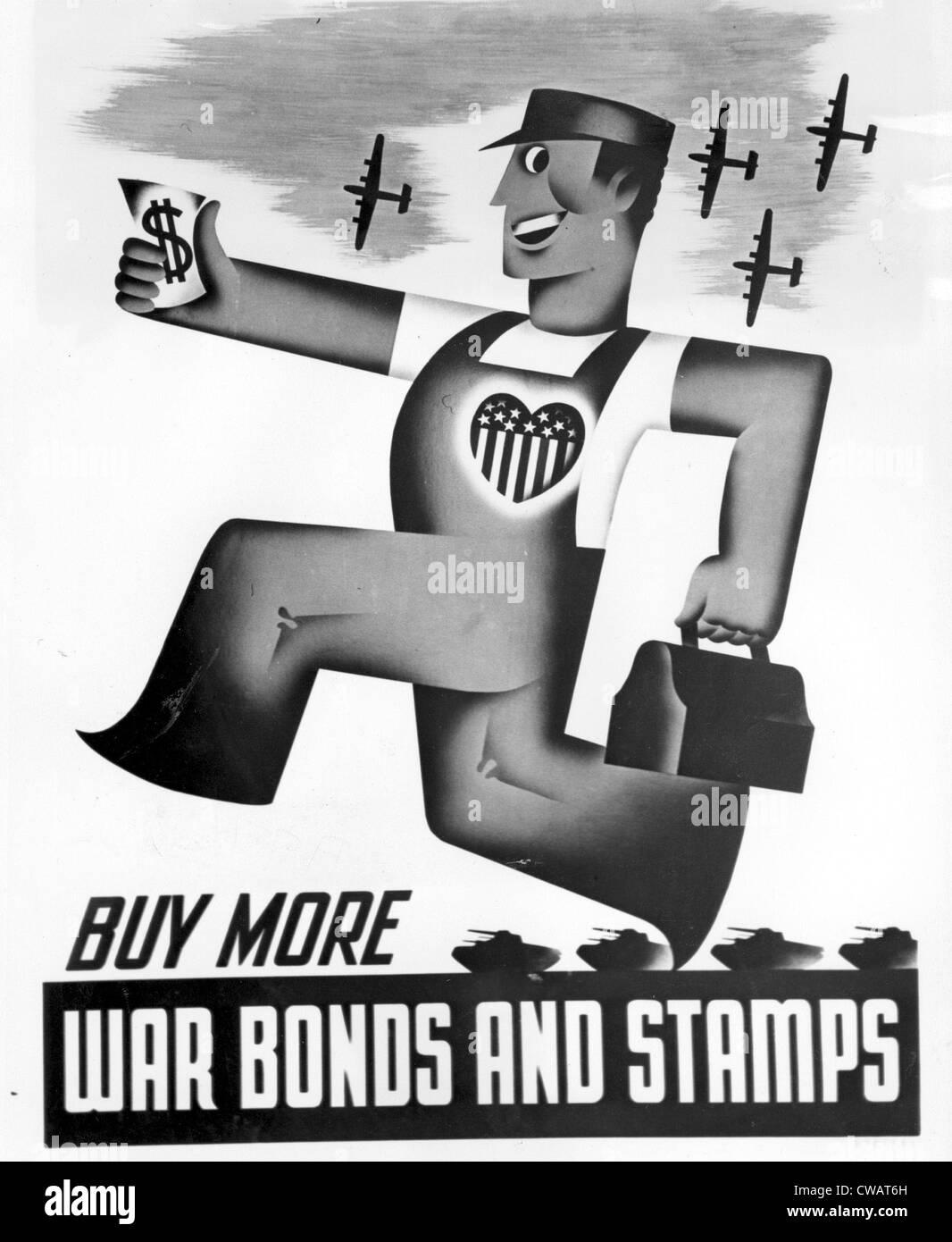 La II guerra mondiale, guerra bond poster, New York News Bureau, 1942. La cortesia: CSU Archivi / Everett Collection Immagini Stock