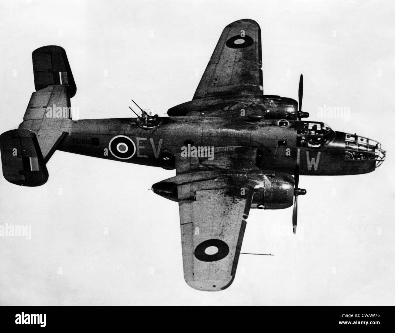 B-25 bombardiere Mitchell, utilizzate contro i tedeschi durante la II Guerra Mondiale, Agosto 1943. La cortesia: Immagini Stock