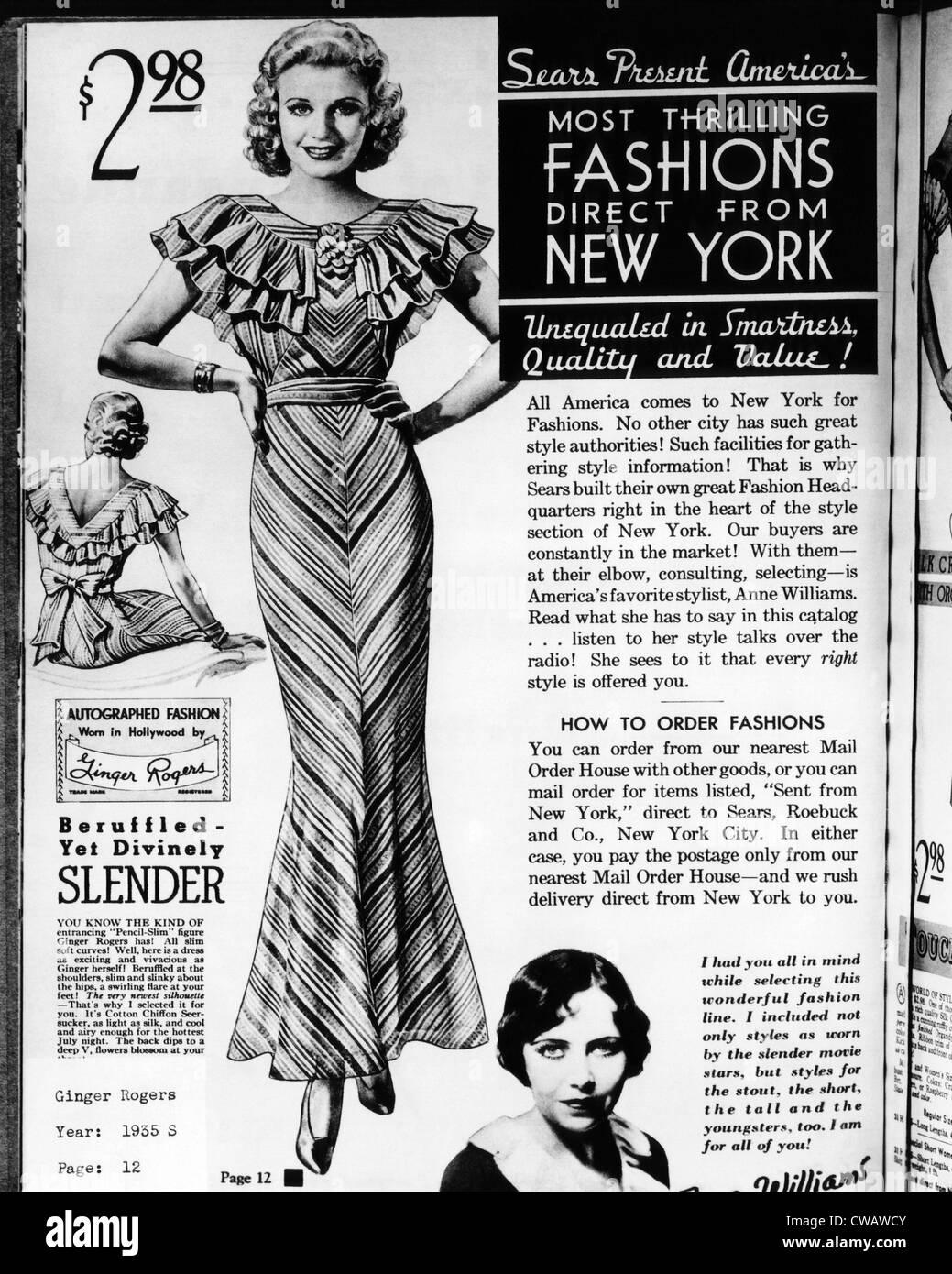 Una pagina da un 1935 Sears Roebuck catalogo offre un 'firmato Fashion: indossato in Hollywood da Ginger Rogers' Immagini Stock