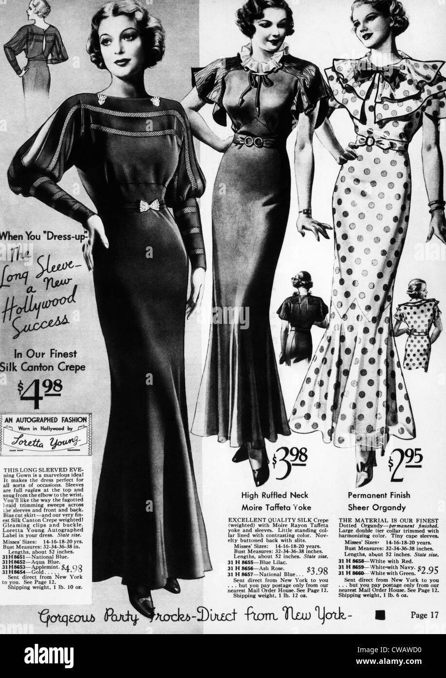 Una pagina da un 1935 Sears Roebuck catalogo offre un 'firmato Fashion: indossato in Hollywood da Loretta Young' Immagini Stock