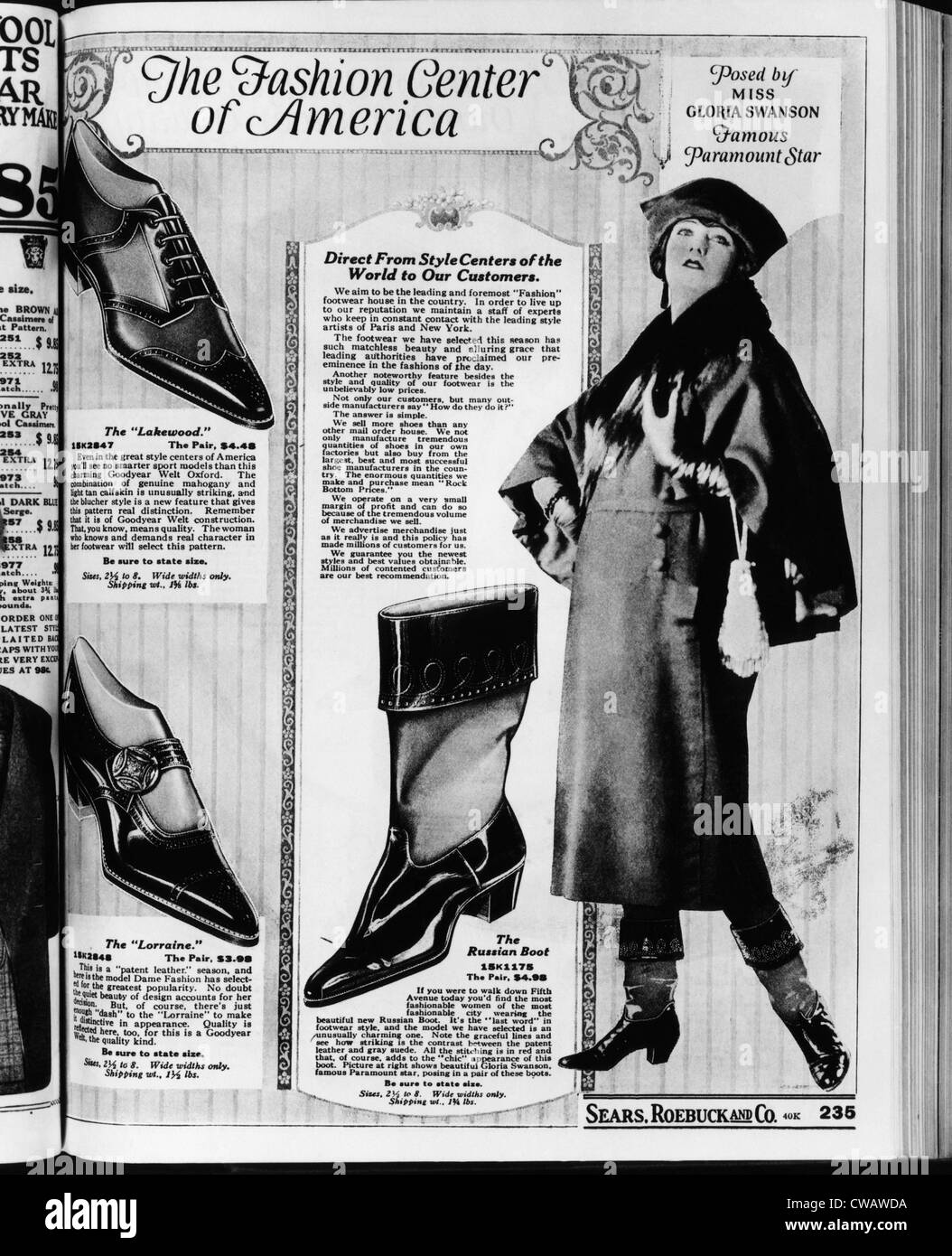 Una pagina da un 1922 Sears Roebuck catalogo con 'Il russo Boot' costano $4,98 una coppia, e 'poste Immagini Stock