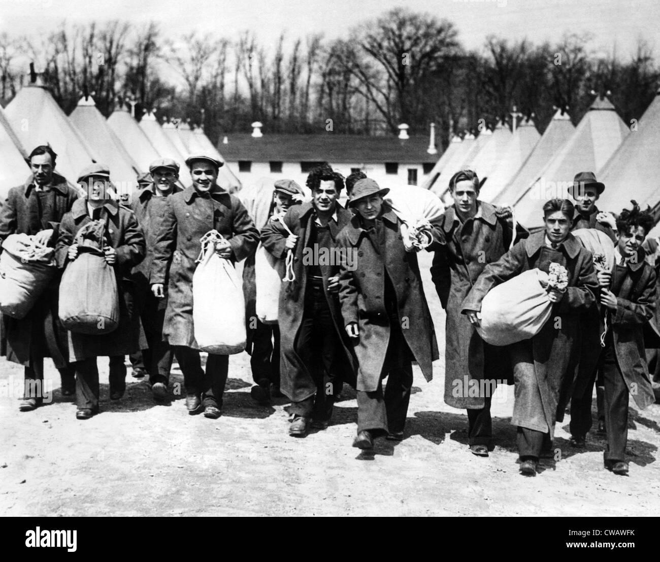Lavoratori disoccupati da Philidelphia arriva a Fort Hoyle Maryland per essere dato in posti di lavoro il presidente Immagini Stock