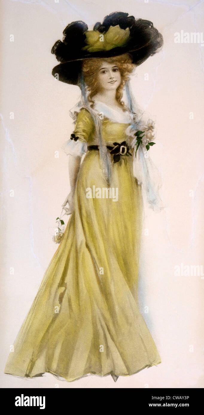 Donna in abito vittoriano e grandi hat, circa 1889. Illustrazione di Leon Moran. Foto: courtesy Everett Collection Foto Stock