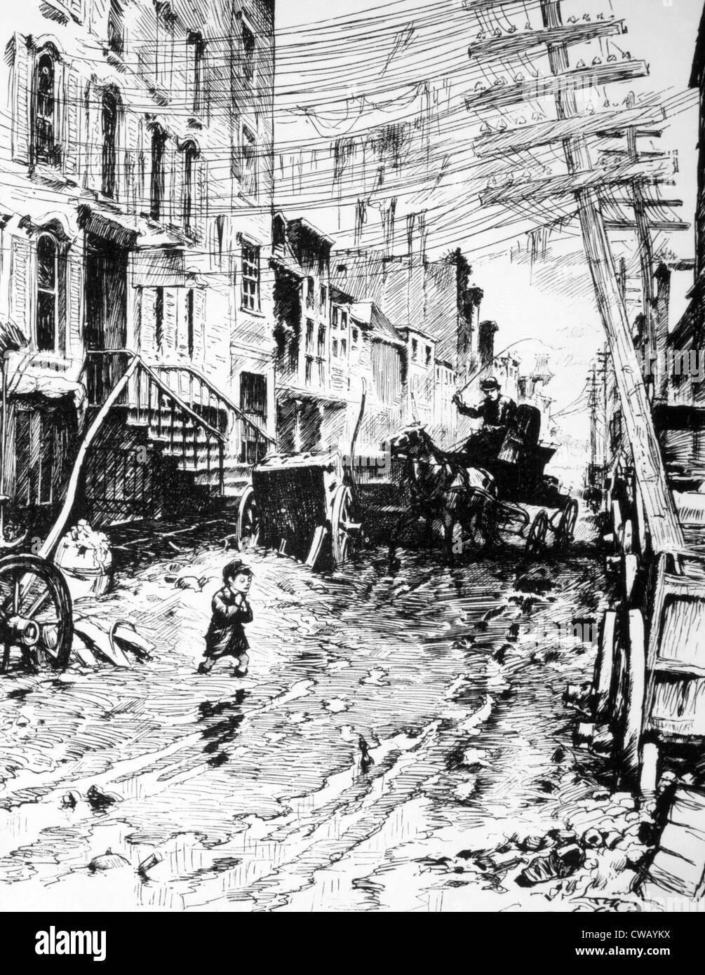 Il bassifondi di New York, c. 1880. Cartone animato da William Allen Rogers in Harper's Weekly Immagini Stock