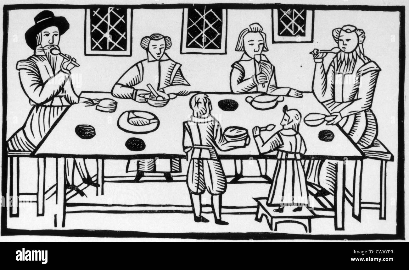 Puritan famiglia pasto, secolo XVII la xilografia. Immagini Stock