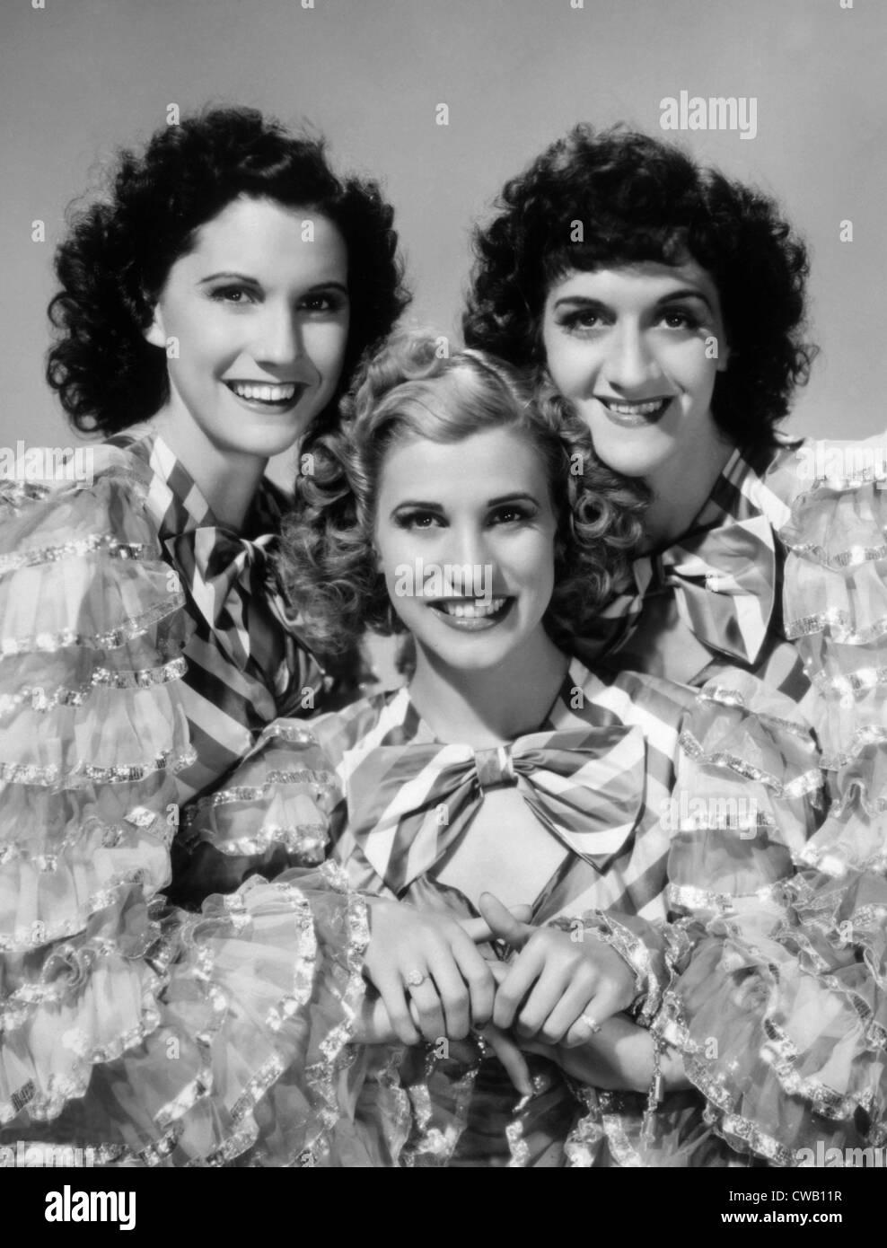 Notti argentino, la Andrews Sorelle, Maxne Andrews, Patty Andrews, LaVerne Andrews, 1940 Immagini Stock