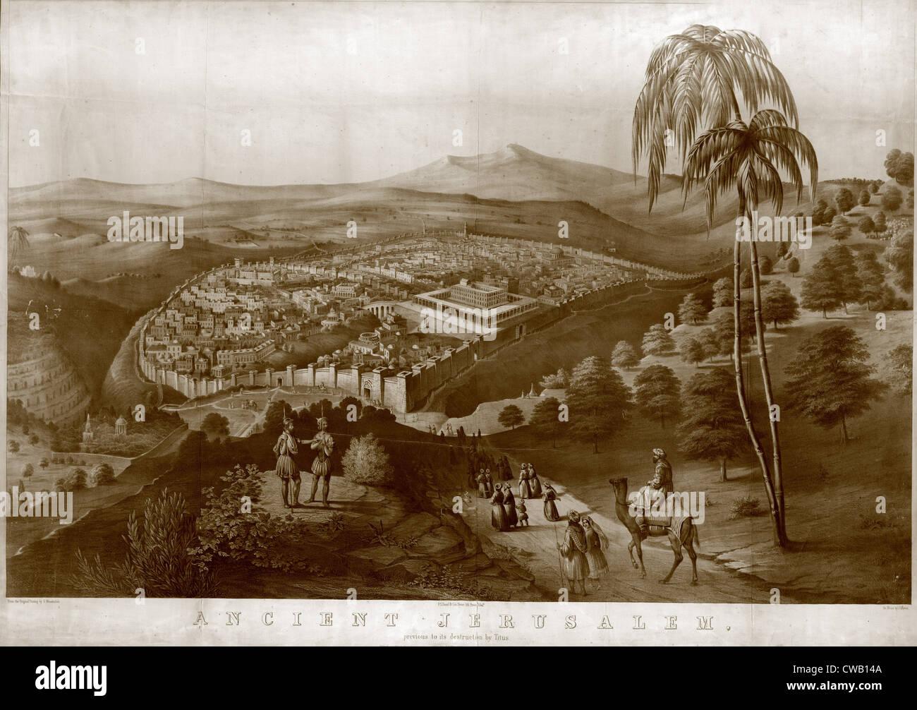 Antica Gerusalemme, prima della distruzione da parte di Tito, dipinto da James Fuller Regina, 1852. Immagini Stock