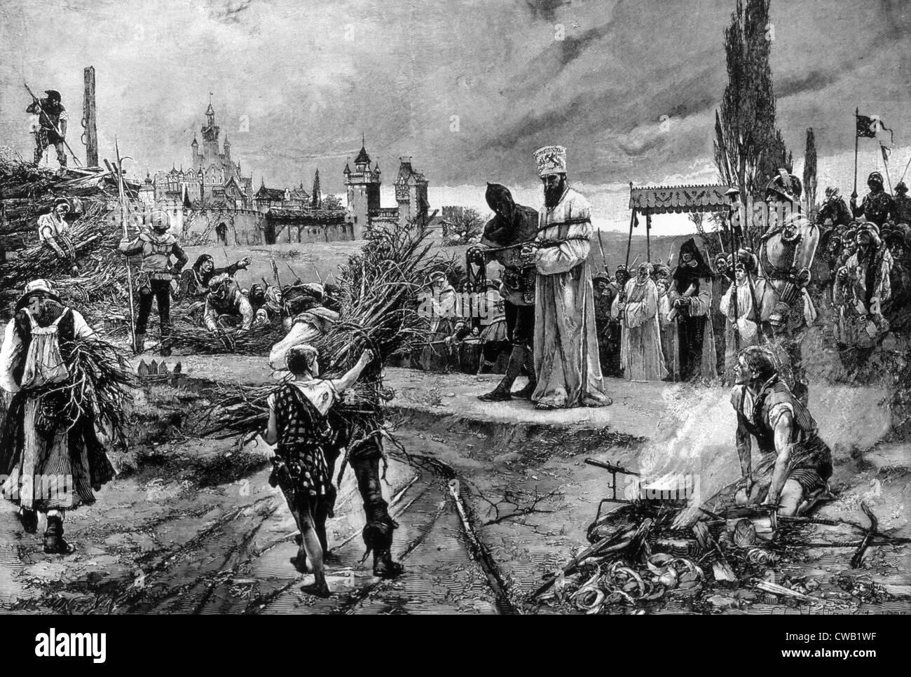 L'esecuzione di Jan Hus, condannato a essere bruciato come eretico dal Concilio di Costanza, 1415 Immagini Stock