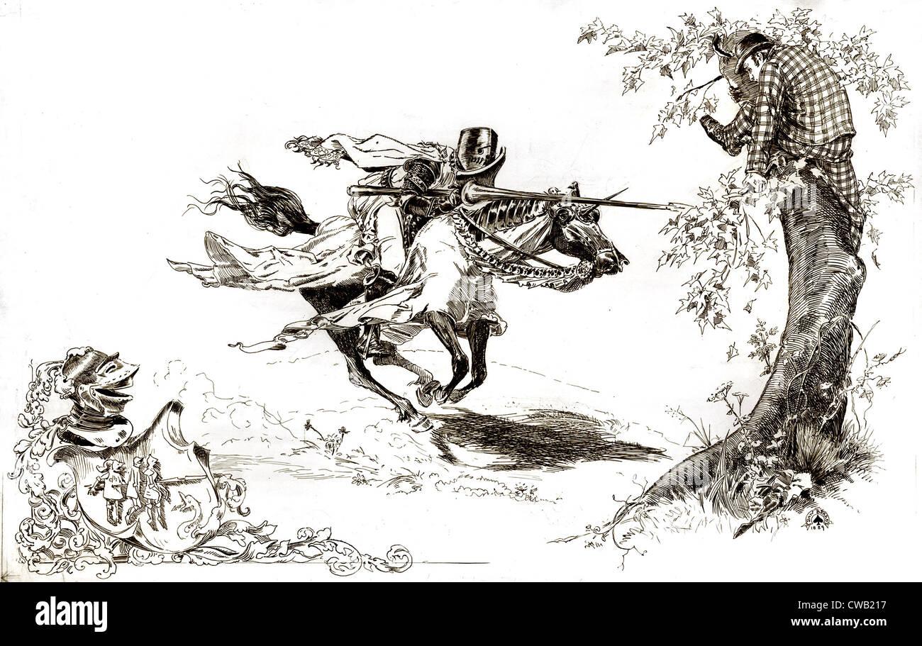 Illustrazione americana, cavaliere in armatura inclinazione all uomo in abito moderno nella struttura ad albero Immagini Stock