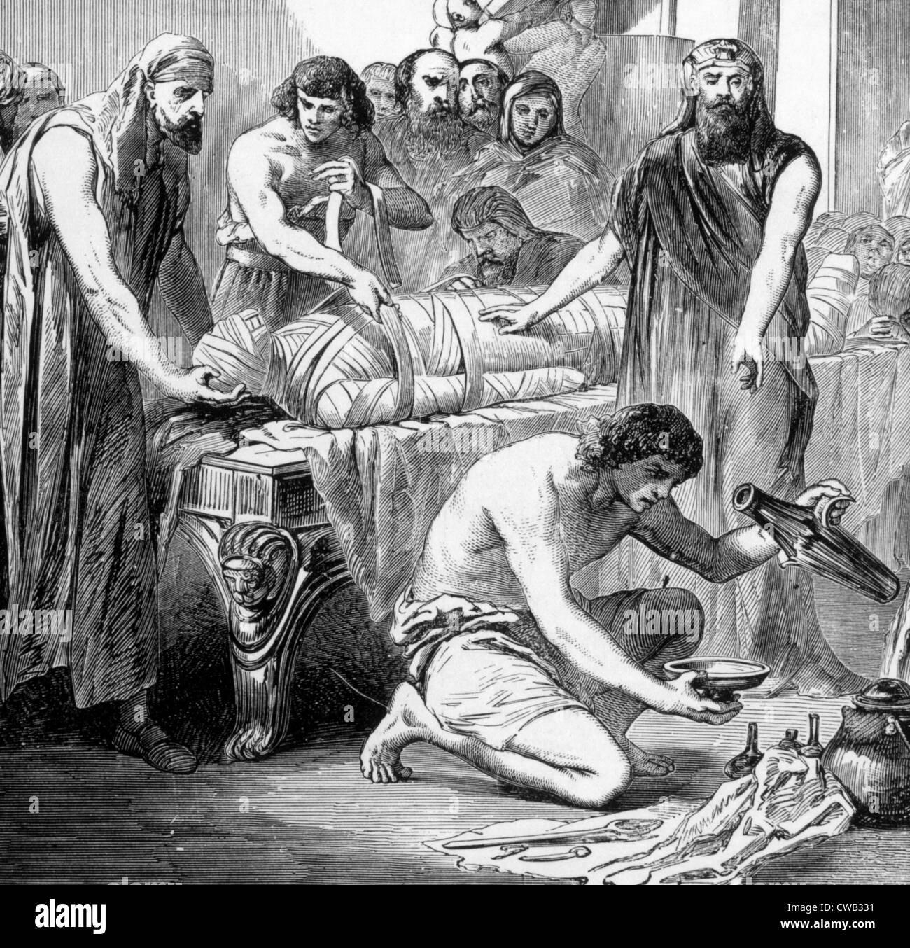 Imbalsamazione nell antico Egitto, incisione 1892 Immagini Stock