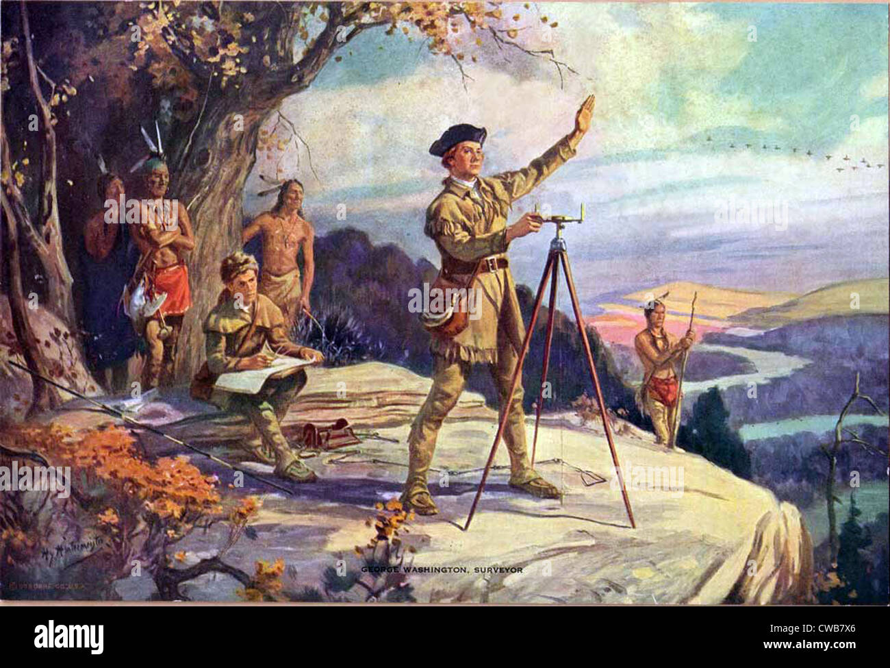 George Washington come un giovane geometra. Pittura ottocentesca Immagini Stock