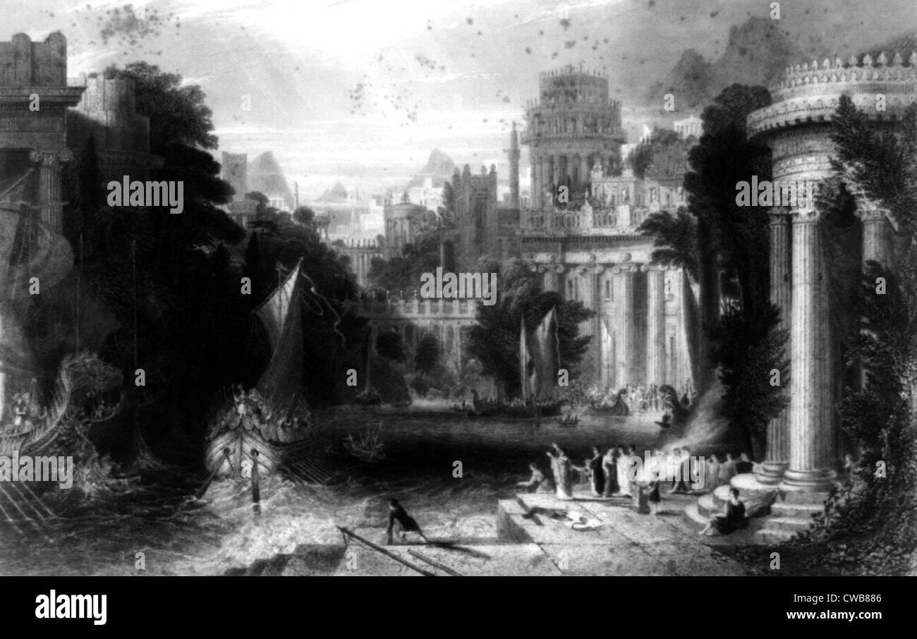 Grecia antica, stampa datata 1860 Immagini Stock