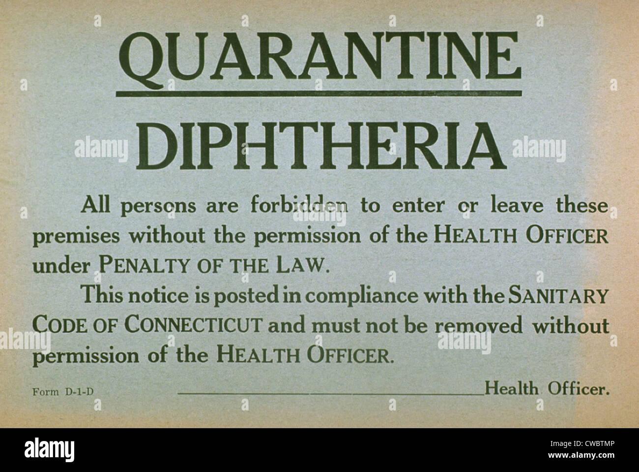 Nei primi anni del XX secolo segno di quarantena per la malattia contagiosa per la difterite. Immagini Stock