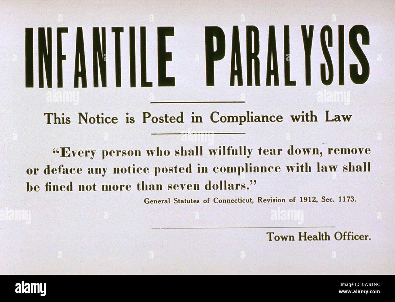 Nei primi anni del XX secolo segno di quarantena per la malattia contagiosa paralisi infantile (Polio). Immagini Stock