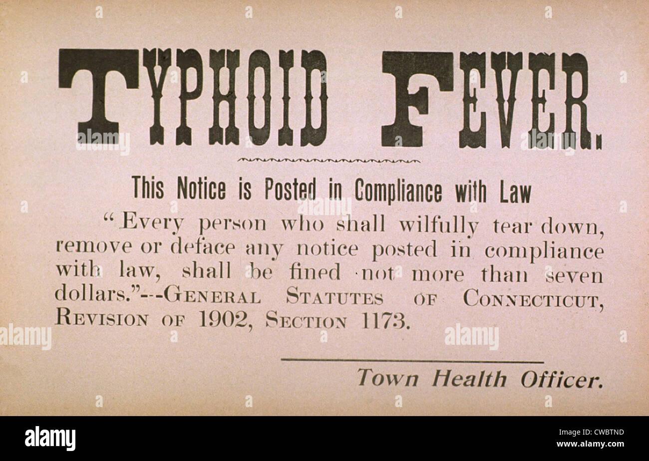 Nei primi anni del XX secolo segno di quarantena per la malattia contagiosa febbre tifoide. Immagini Stock