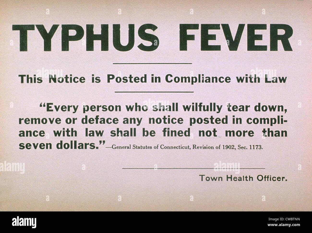 Nei primi anni del XX secolo segno di quarantena per la malattia contagiosa tifo febbre. Immagini Stock