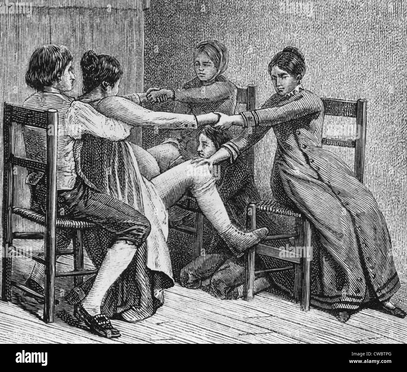 Pioneer scena di nascita di due uomini e due donne assistere durante il parto di ca. 1800. Illustrazione DALLA STORIA Immagini Stock