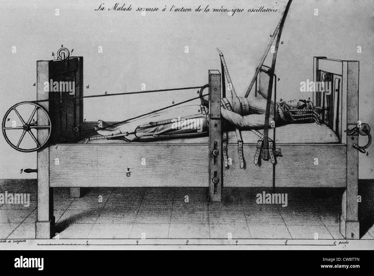 Paziente femmina strapped in un letto ortopedico, con bretelle e manovelle per applicare la trazione. Dal 1827 francese Immagini Stock