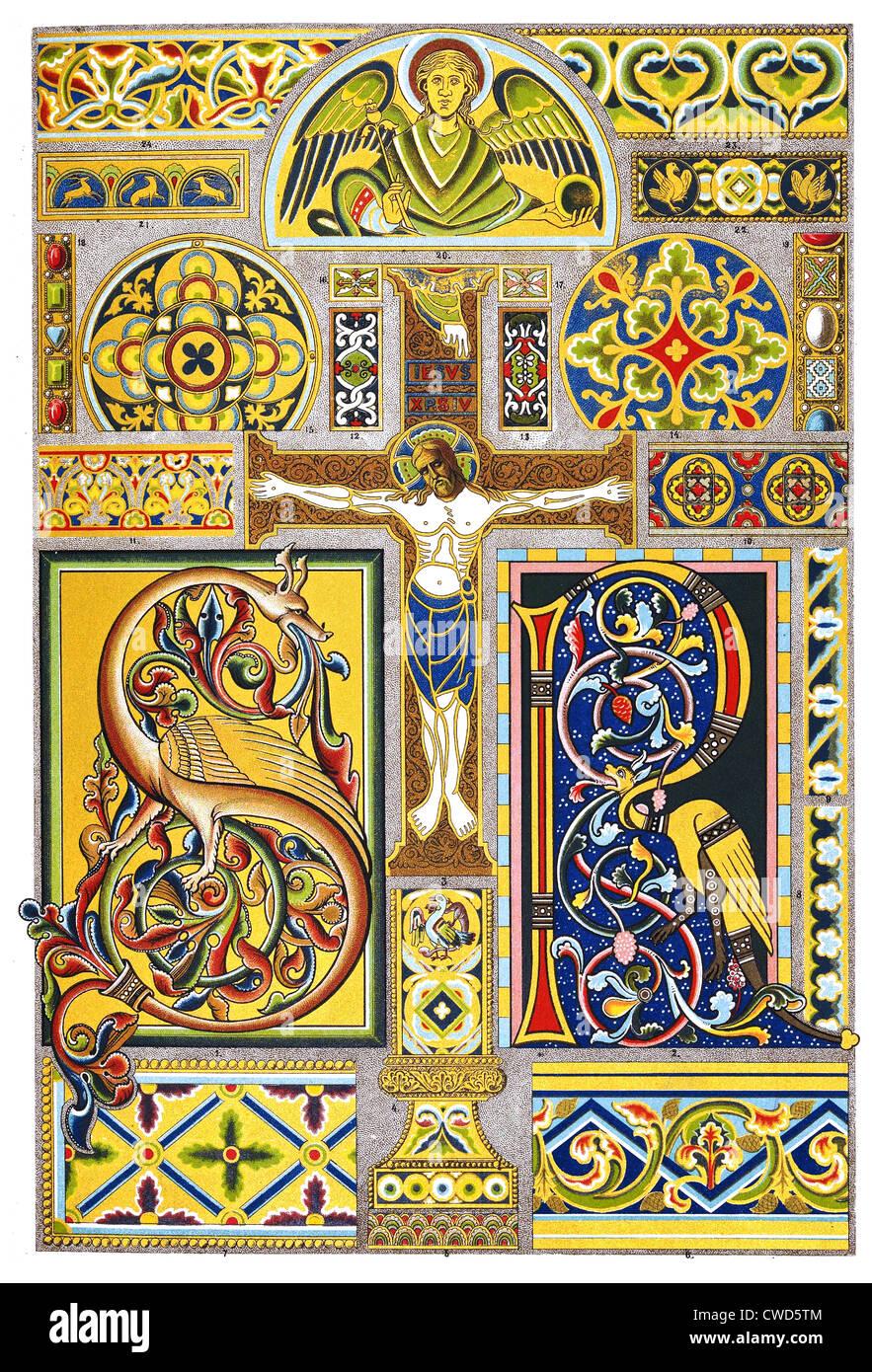 Il romanico Medioevo manoscritto e smalto Immagini Stock
