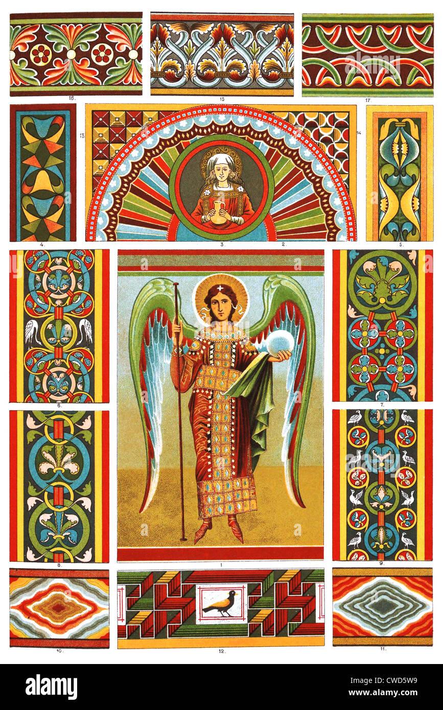 Il romanico Medioevo murales Immagini Stock