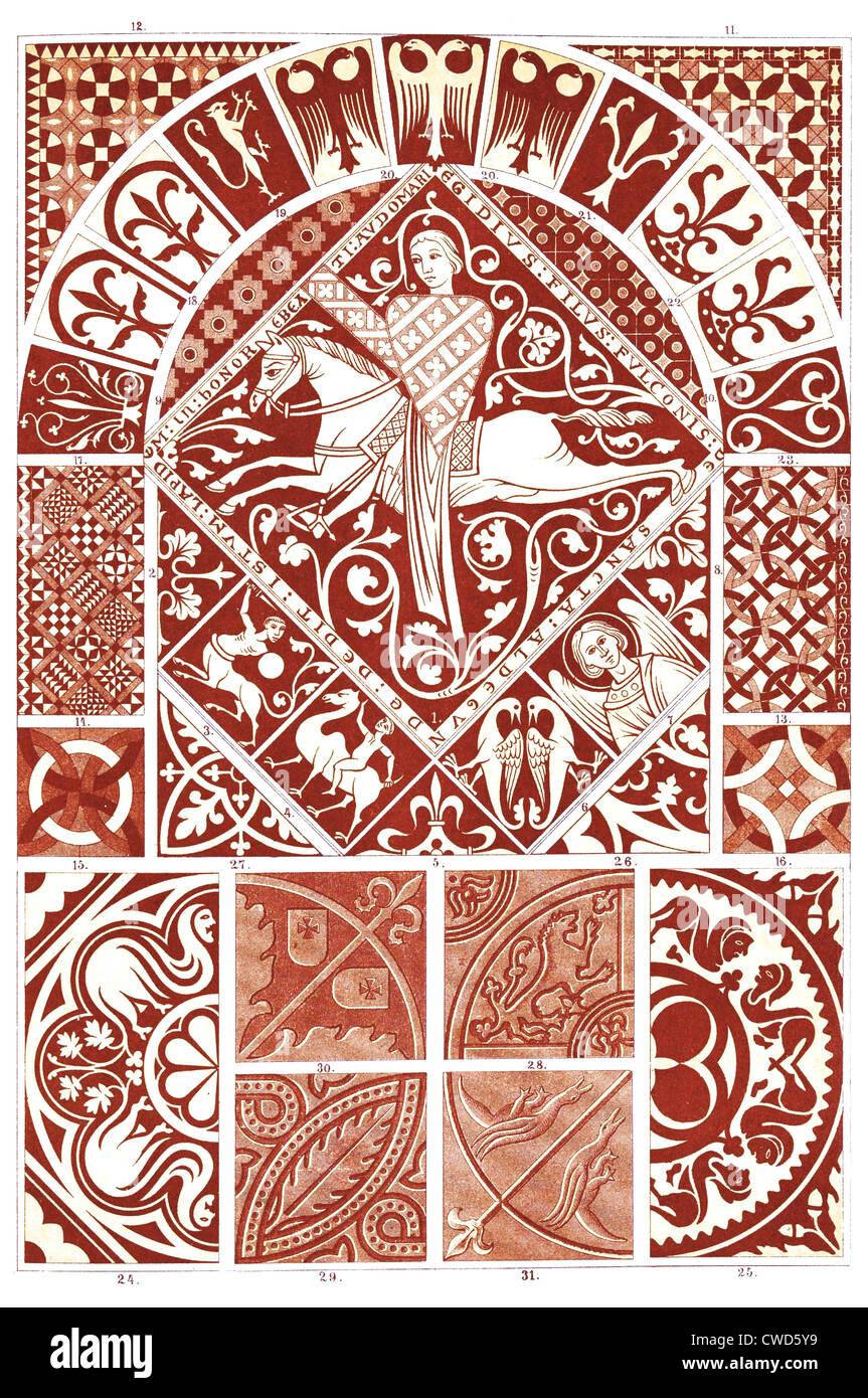 Il romanico medio Ages-Gothic rivestimenti per pavimenti Immagini Stock