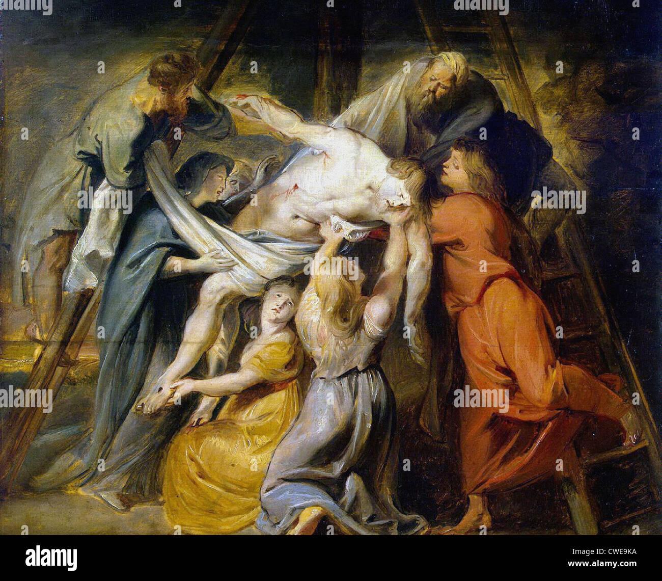 Peter-Paul Rubens Discesa dalla Croce 1614 Shuvalov Casa Museo di San Pietroburgo, Pittura olio su pannello, 48.7x52 Immagini Stock