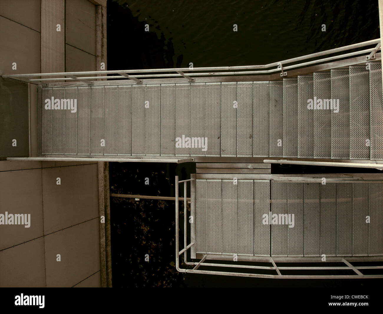 Scala,steps,acciaio inossidabile Foto Stock