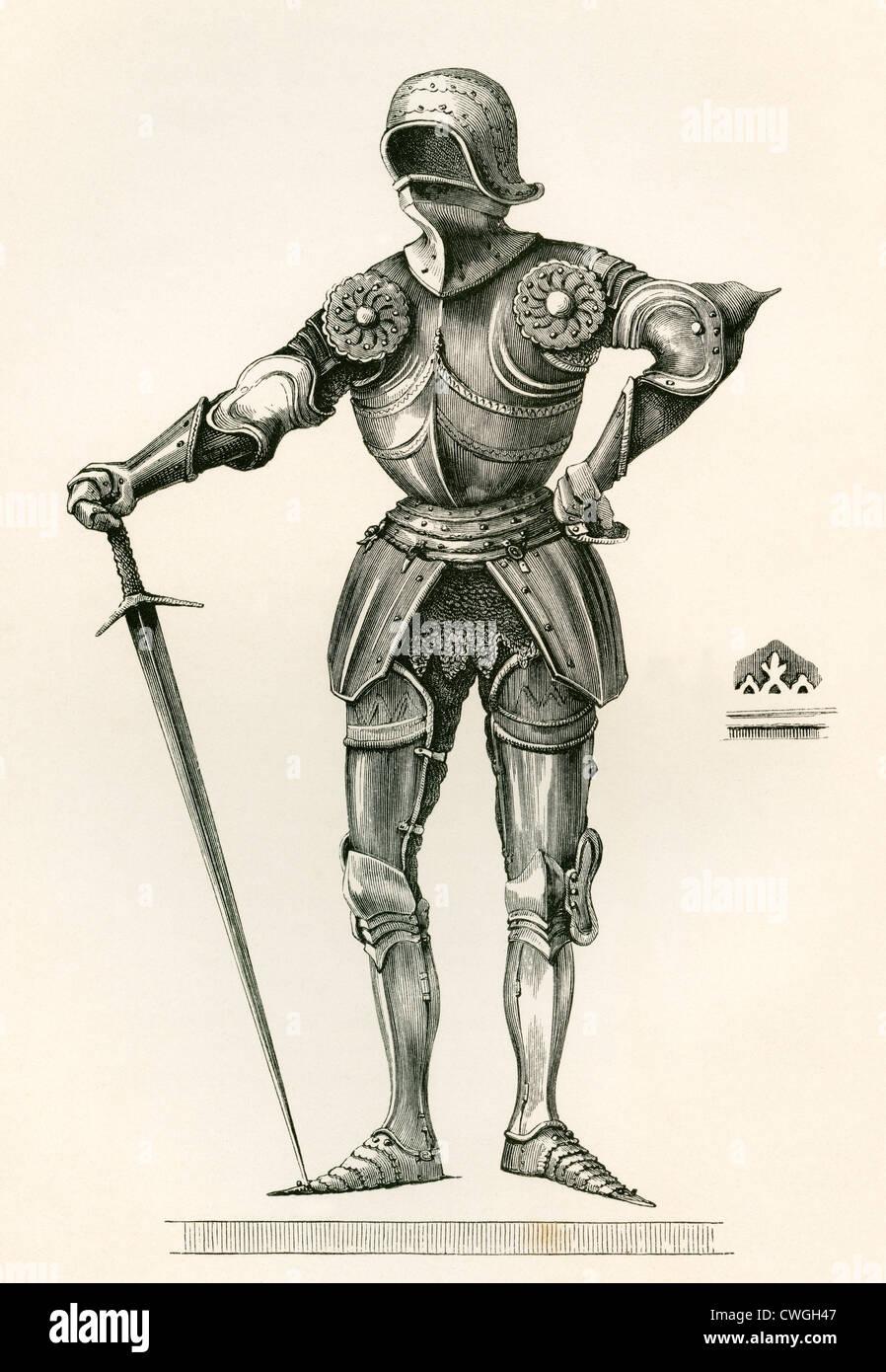 Tuta di armatura gotica, noto come à la Poulaine, risalente A.D. 1450. Immagini Stock