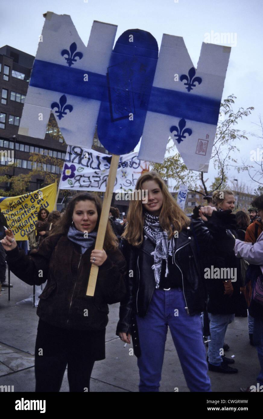 Il 1995 Quebec referendum era il secondo referendum per chiedere agli elettori in del Québec se Québec Immagini Stock