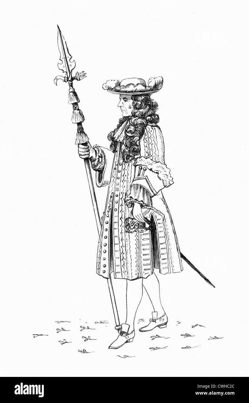 Un gentiluomo pensionato, aka la onorevole Banda di colleghi pensionati, 1687. La guardia del corpo per il monarca Immagini Stock