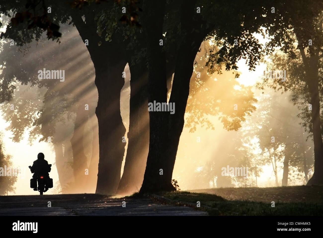 La luce del sole,moto,Road,moto tour,nebbia Immagini Stock