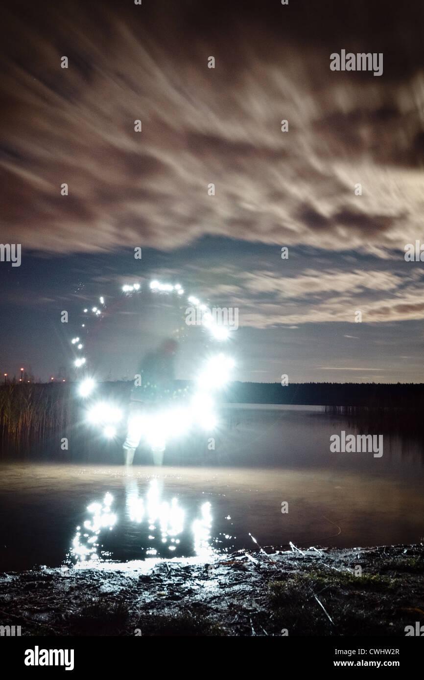 Lago,luce,fantasma,lightbrush Immagini Stock