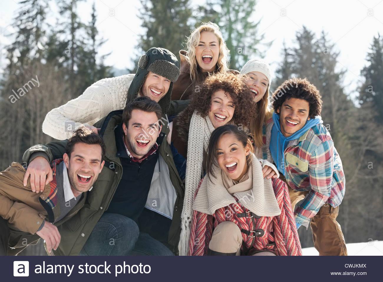 Ritratto di amici entusiasti Immagini Stock