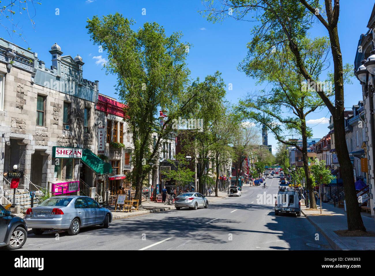 Rue Saint-Denis nel Quartier Latin (Quartiere Latino), Montreal, Quebec, Canada Immagini Stock