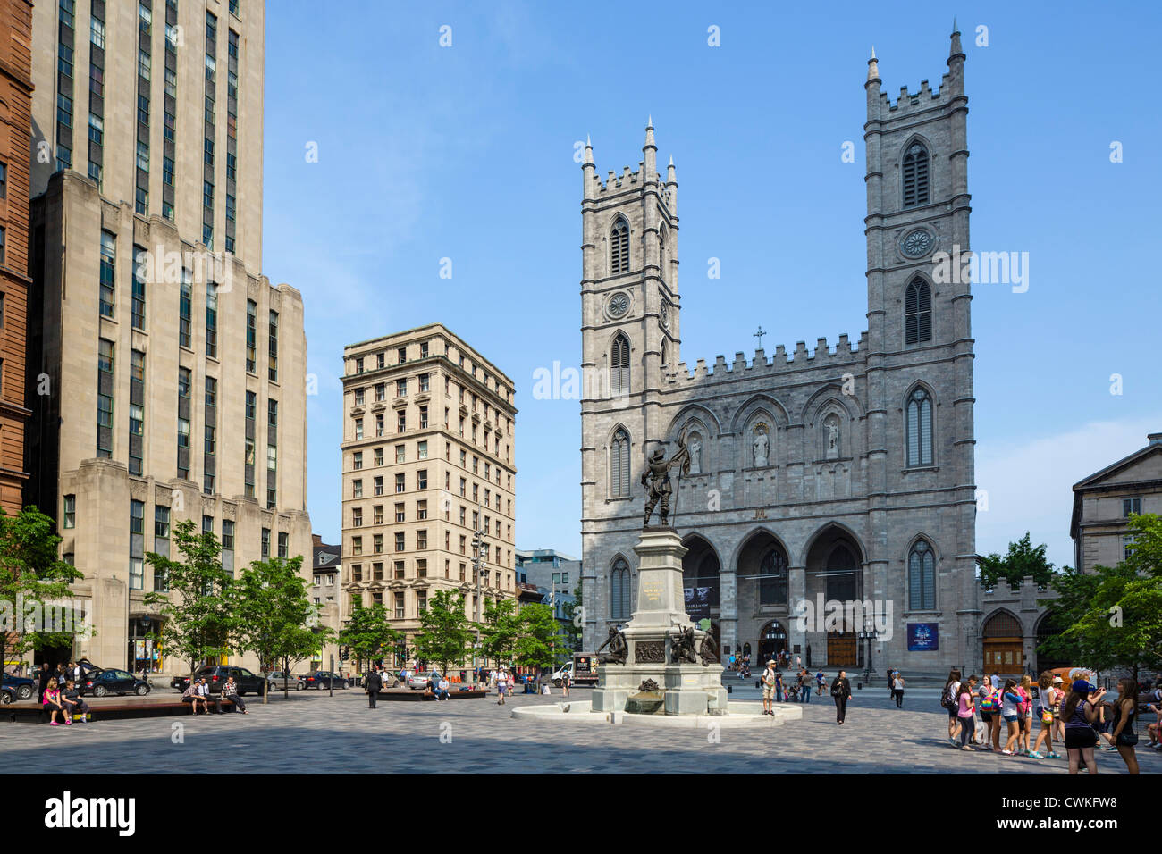 La Basilica di Notre Dame di Place d'Armes, Vieux Montréal, Québec, Canada Immagini Stock