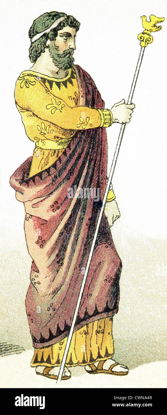 Il Greco antico qui rappresentato è un re. L'illustrazione risale al 1882. Immagini Stock
