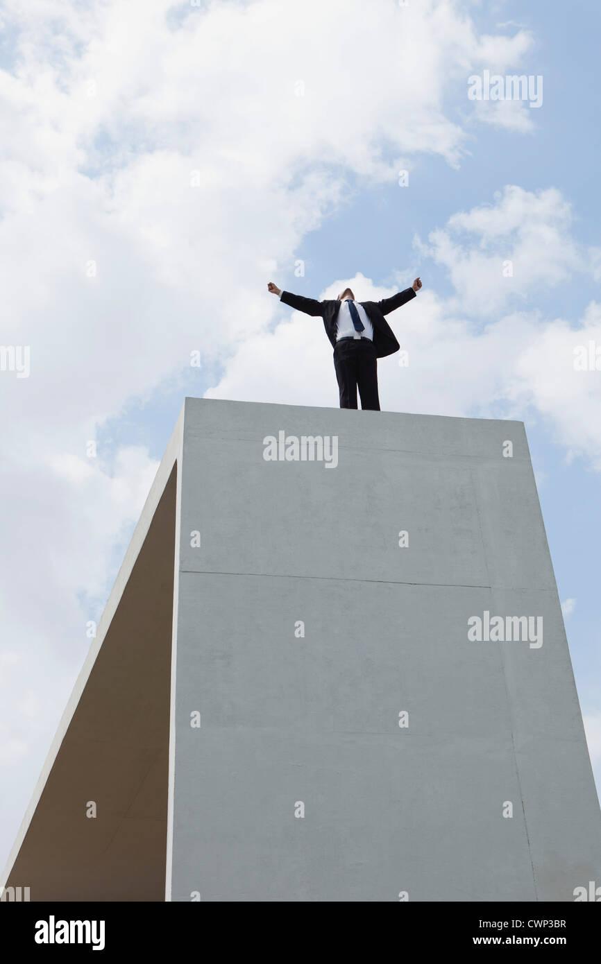 Imprenditore permanente sulla struttura in cemento armato con le braccia aperte e a basso angolo di visione Immagini Stock