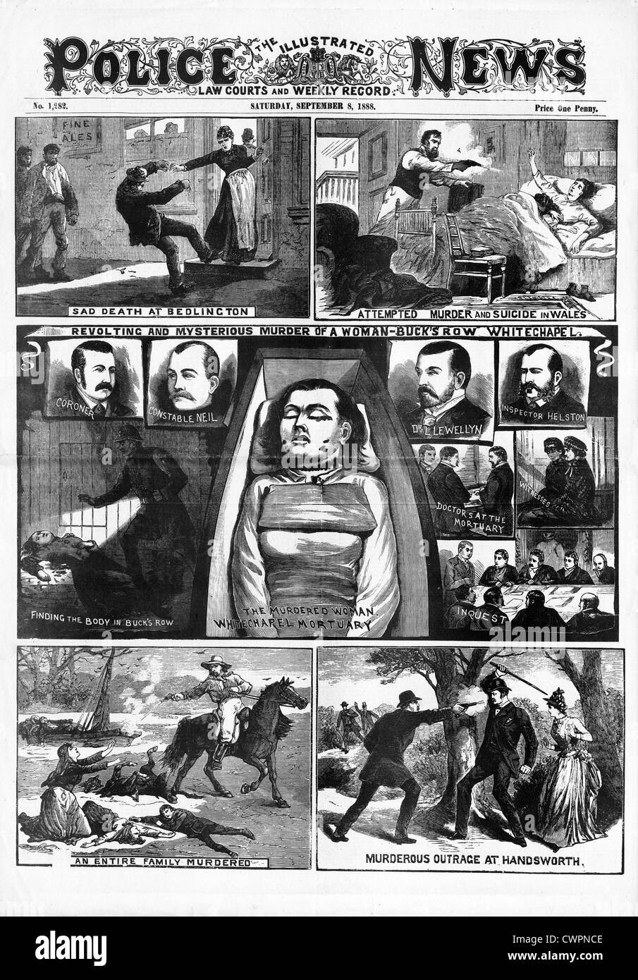 Jack The Ripper, Polly Nichols, la polizia News pagina anteriore segnalato la prima vittima del Vittoriano serial Immagini Stock