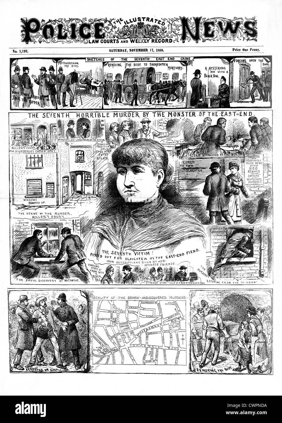 Jack The Ripper, Mary Jane Kelly, la polizia News, dal 17 novembre 1888, pagina anteriore segnalato la sua quinta Immagini Stock
