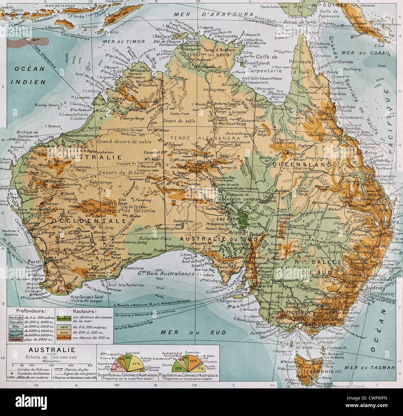 Australia Cartina Geografica.Australia Cartina Fisica Foto Stock Alamy
