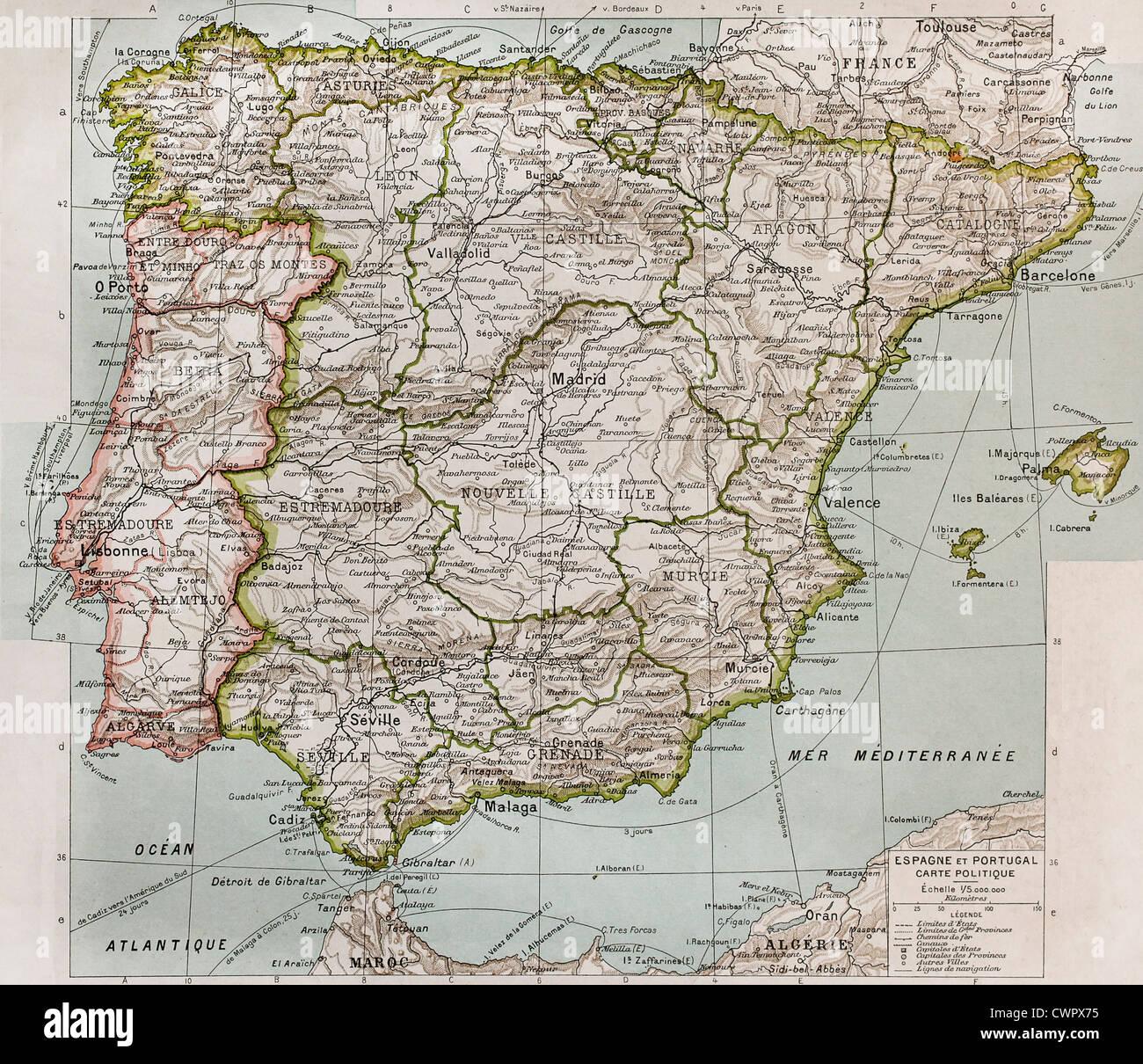 Cartina Geografica Spagna E Formentera.Spagna E Portogallo Mappa Politico Foto Stock Alamy