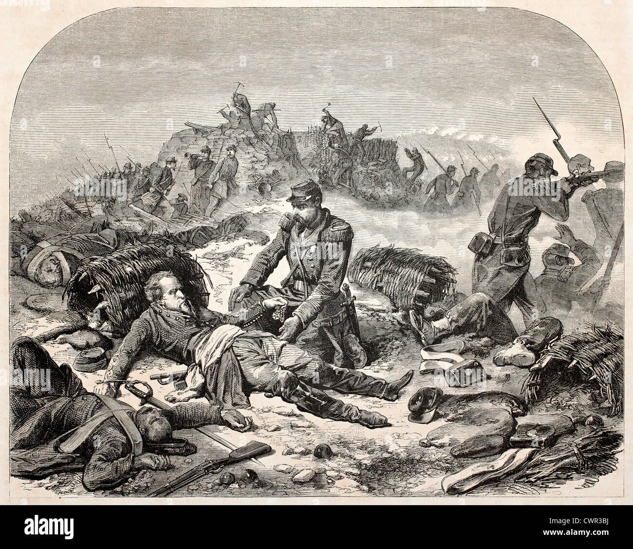Soldato morente dando la sua ultima volontà Immagini Stock